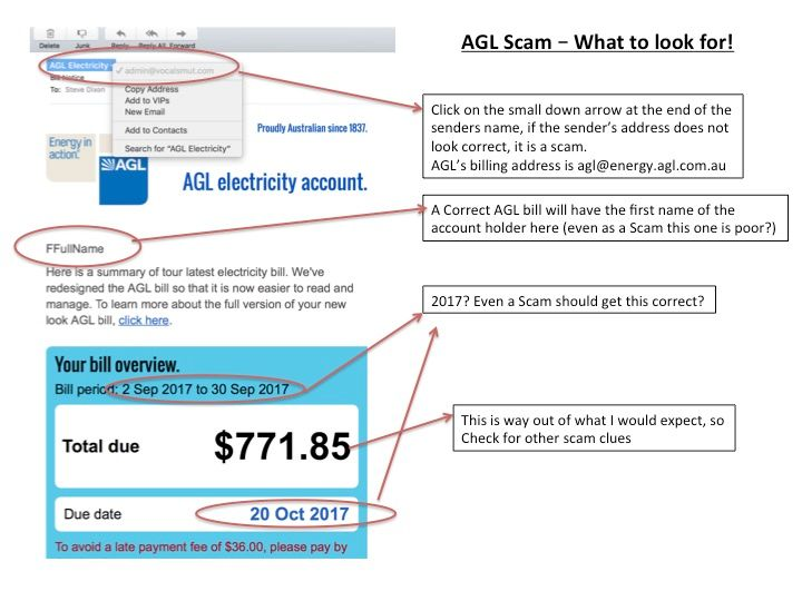 AGL Scam currently circulating
